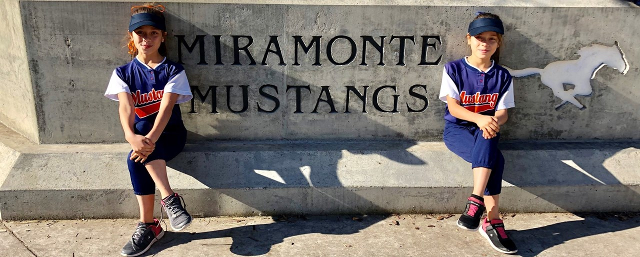 miramonte twins dressed for sports rally